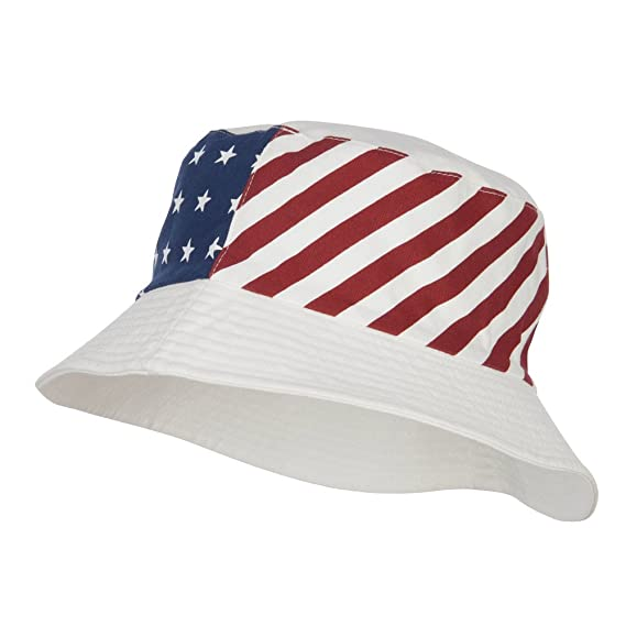 d3eb70dbfe778a Reversible American Flag Bucket Hat - White OSFM: Amazon.in: Clothing &  Accessories