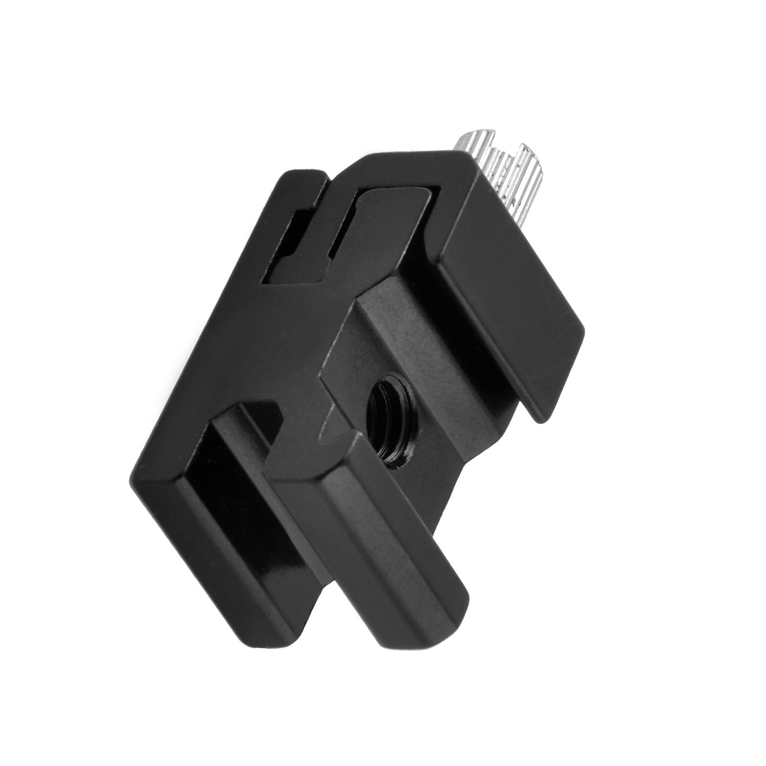 pangshi Black Metal Cold Shoe Flash Stand Adapter with 1/4-inch -20 Tripod Screw (4 Packs)