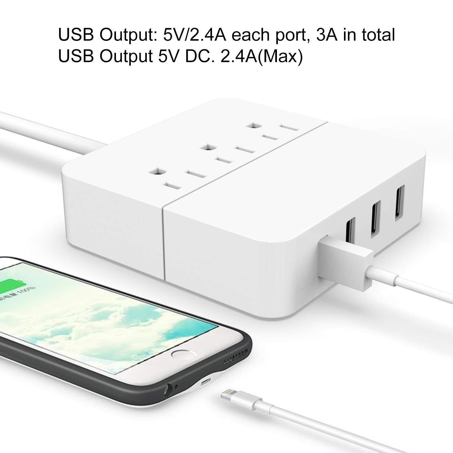 Portable Multi Ports Desktop Charging Station 5FT Extension Cord for Travel Office Home White 5V//2.4A Yehua 3-Outlet Surge Protector Power Strip with 4 USB Charging Ports