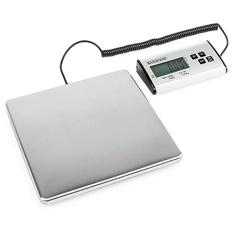 Duramaxx Marketeer báscula digital para paquetería (plataforma de acero inoxidable, mando separado por cable