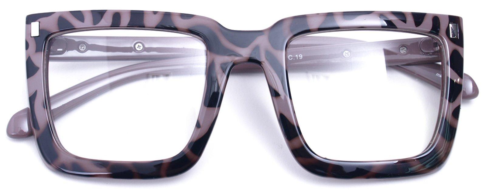 Big Square Horn Rim Eyeglasses Nerd Spectacles Clear Lens Classic Geek Glasses (TORTOISE 1830, Clear)