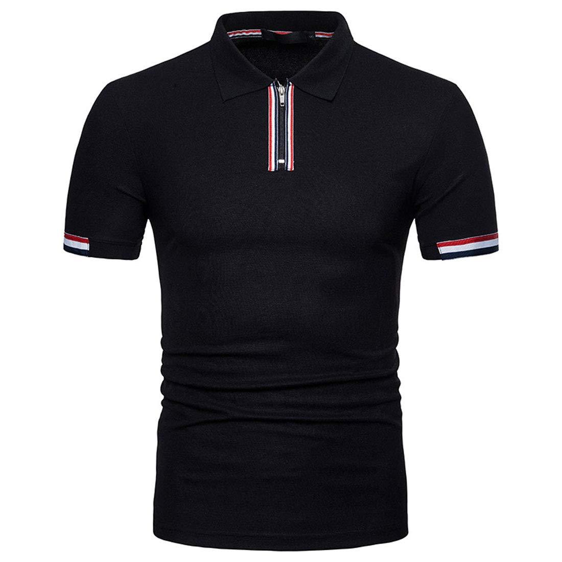 chouyatou Mens Casual Basic Collar Front Zipper Tees Short Sleeve Polo T-Shirt