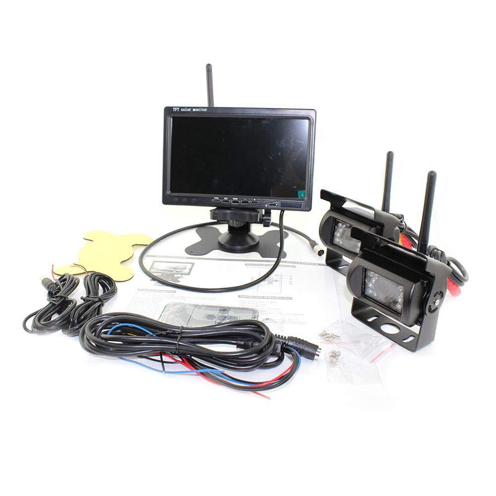 Mirabellini Wireless R/ückfahrkamera kit IP67 Wasserdicht 18 St/ücke LED ir Nachtsicht R/ückseitige R/ückansicht Unterst/ützung Auto Kamera 7 tft LCD R/ückfahrkamera Monitor f/ür RV Bus LKW Anh/änger