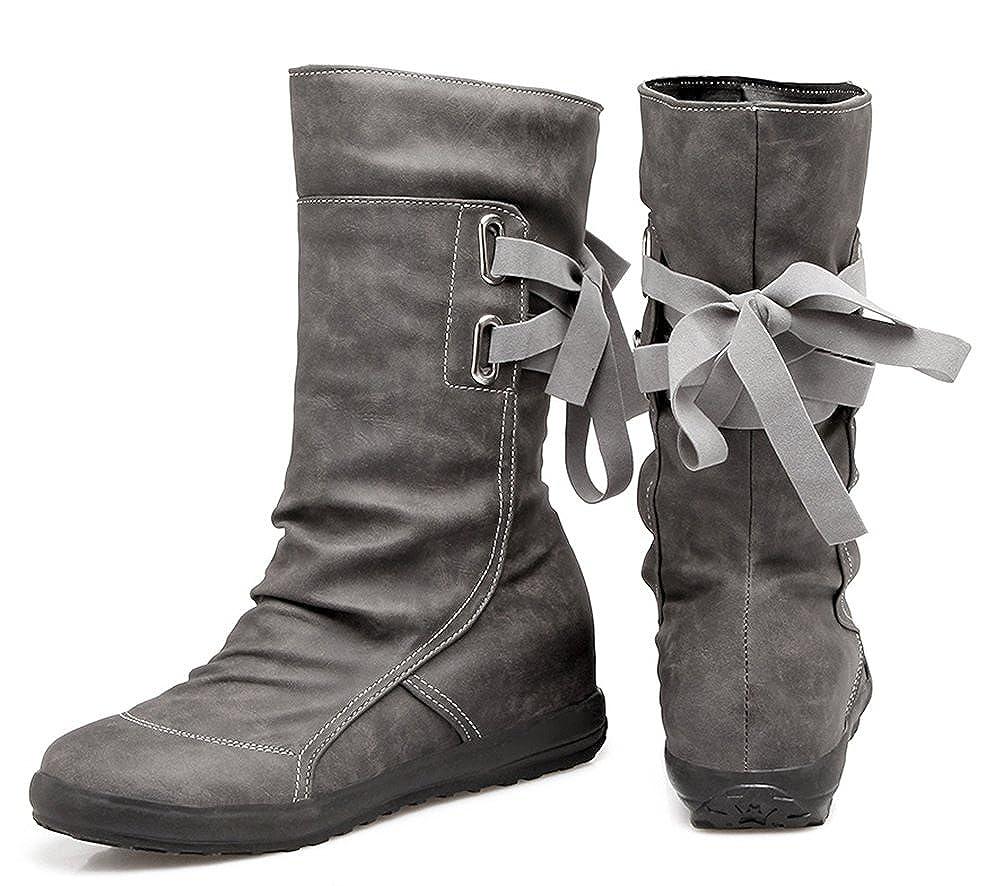 Easemax Damen Modisch Rund Zehe Halbhohe Schnürung Flach Stiefel Stiefel Stiefel 255142