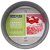 casaWare Ceramic Coated NonStick 9-Inch Round Pan, Silver Granite