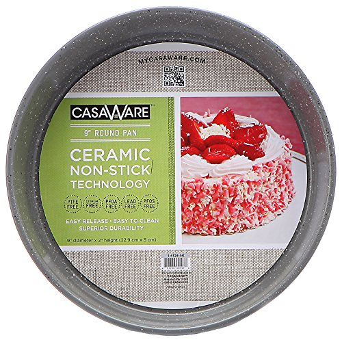 casaWare Ceramic Coated NonStick 9-Inch Round Pan, Silver Granite by casaWare
