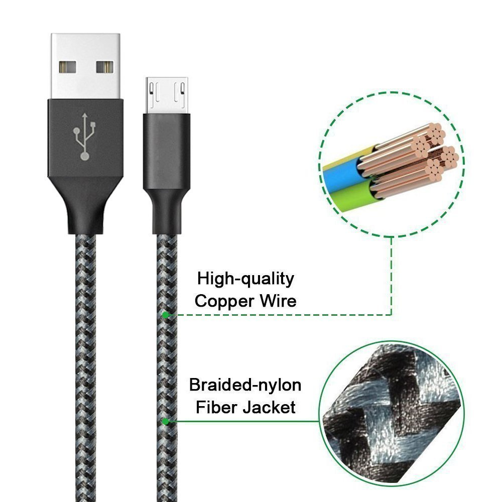 Micro USB Cable YouHo,4Pack 3FT 6FT 6FT 10FT Long Premium Nylon Braided Android Charger USB to Micro USB Charging Cable Samsung Charger Cord for Samsung Galaxy S7 Edge/S7/S6/S4/S3,Note 3/4/5 - Black by YouHo (Image #4)