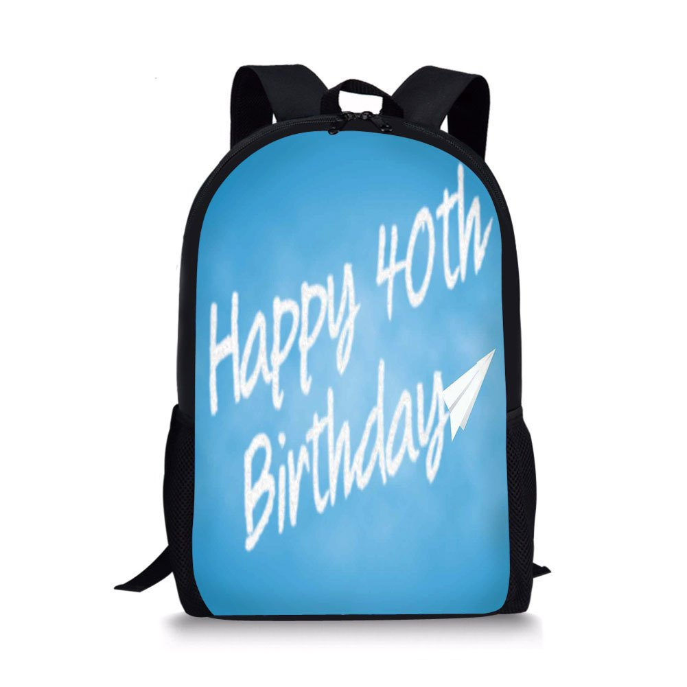 IPrint School Bags 40th Birthday DecorationsCelebration Theme Clouds In Blue Sky And Paper Plane Flying PrintBlue White For BoysGirls Mens Sport Daypack