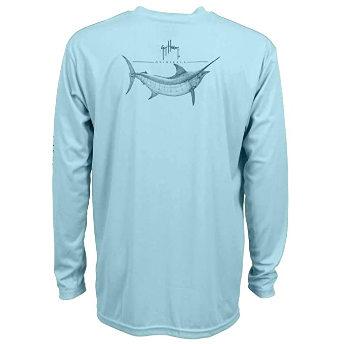 034897ad Guy Harvey Men's Marlin Sketch Pro UVX Performance Long-Sleeved T-Shirt, Sky