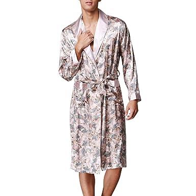 7b1a5a9af06eaa Sidiou Group Kimono Robe Morgenmantel Herren Satin Kimono Lang Satin  Nachthemd Nachtw?sche Schlafanzug Bademantel