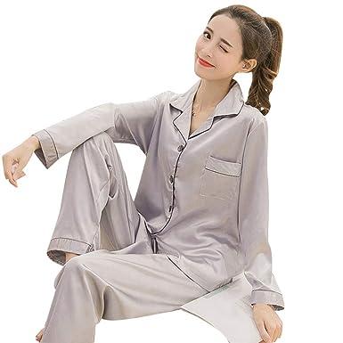 Ladies Satin Pyjama Set Silky Spring Lounge wear Pajamas long sleeve pjs Spring