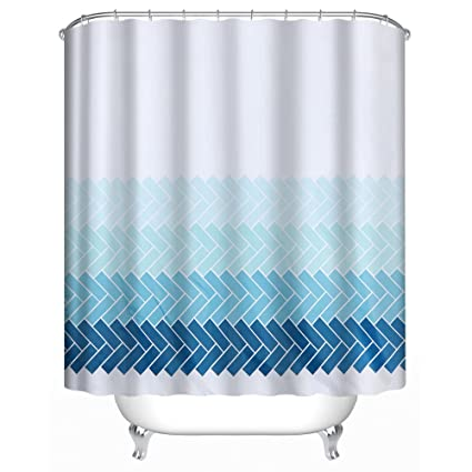 Uphome Fabric Shower Curtain Ombre Blue Cross Striped Pattern On White Extra Long Chic Decorative