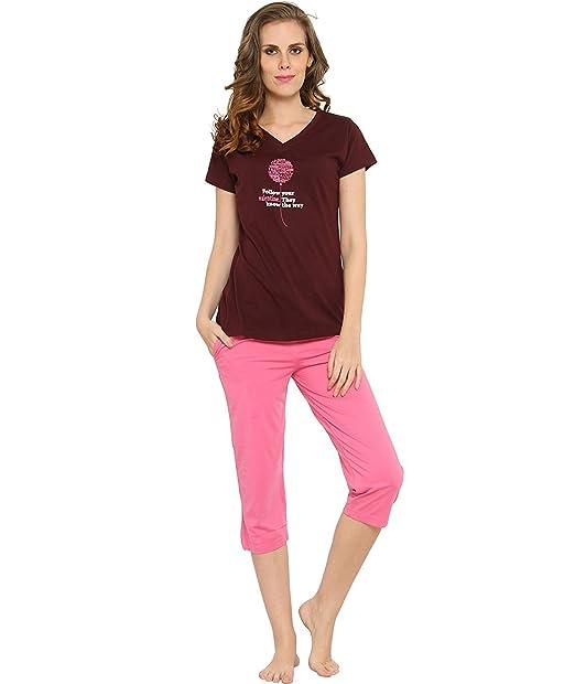 97cdbd60ceea6 Nightwear for Women - Night Suit - Summer Wear - Top   Capri Combo Set -  Sinker Material - Maroon and Pink Color ...