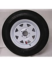 "15"" White Spoke Trailer Wheel with Bias ST205/75D15 Tire Mounted (5x4.5) bolt circle"