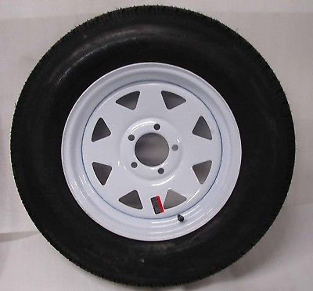 15 White Spoke Trailer Wheel with Bias ST205/75D15 Tire Mounted (5x4.5) bolt circle Wheels Express Inc 15545ws205b