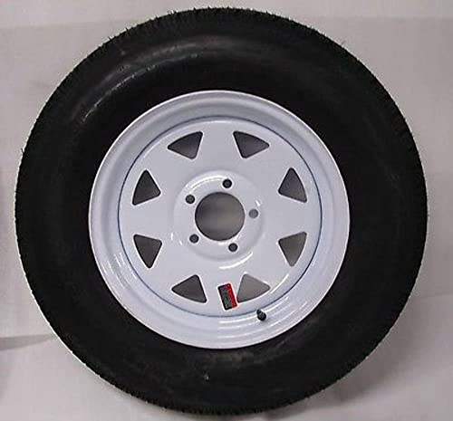 White Spoke Trailer Wheel with Bias ST205/75D15 Tire Mounted