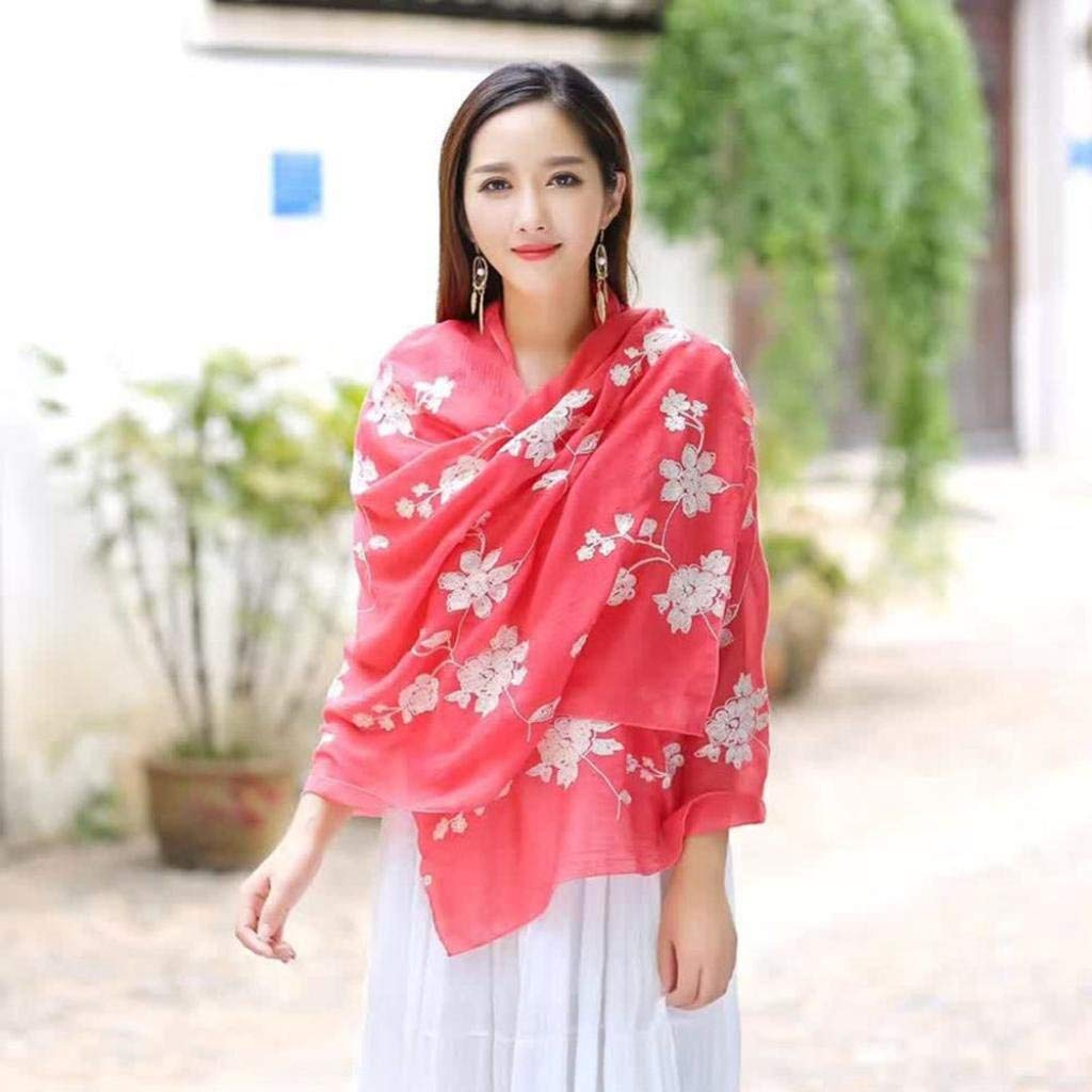 16cf6faf96f Oksale Baby Girl s Autumn Printed Embroidery Linen Scarves Scarf Shawl  Sarong Wrap One Size 10  Amazon.in  Clothing   Accessories