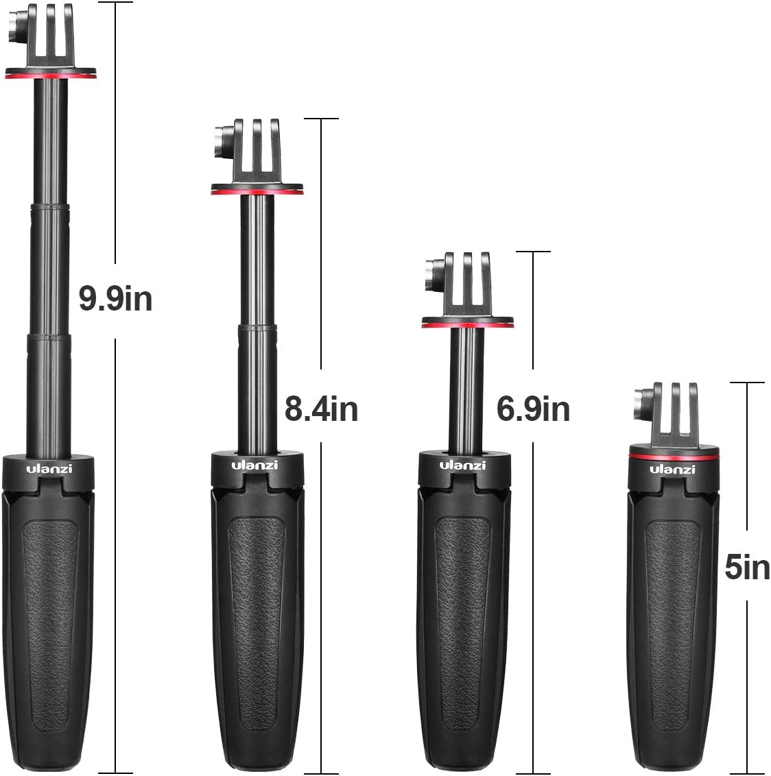 Extendable Selfie Stick Tripod for Gopro,2 in 1 Mini Extension Pole Tripod Compatible with Gopro Hero 8//7//6//5 Black DJI Osmo Action Camera Accessory Kits for Vlog Shooting