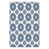 Bathroom Bath Rug Kitchen Floor Mat Carpet,Vintage,French Country Style Floral Circular Pattern Lace Ornamental Snowflake Design Print,Blue White,Flannel Microfiber Non-slip Soft Absorbent