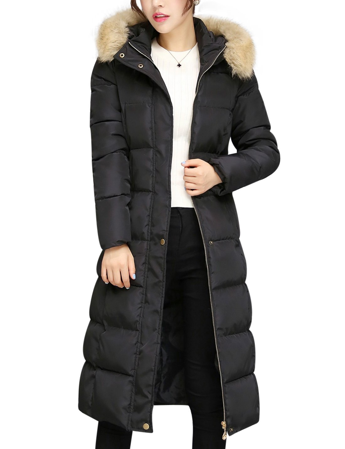 Tanming Women's Winter Cotton Padded Long Coat Outerwear With Fur Trim Hood (Large, Black)