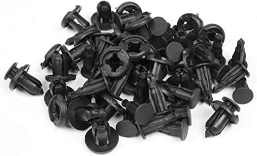 sourcing map 100pcs Rivet Plastique Noir 7mm Voiture Push Clips Panneau Fender Pare-Chocs Fixation