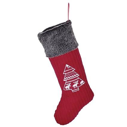 Tradicional Navidad Baya Rojo nórdico bordado calcetín de Navidad con pelo sintético invierno gris frontera.