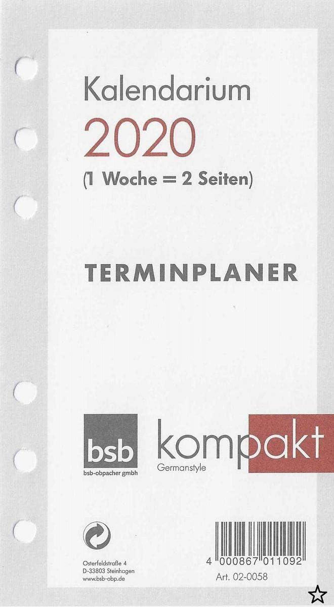 Kalendereinlagen BSB A6 Ersatzeinlagen 2020 kompakt