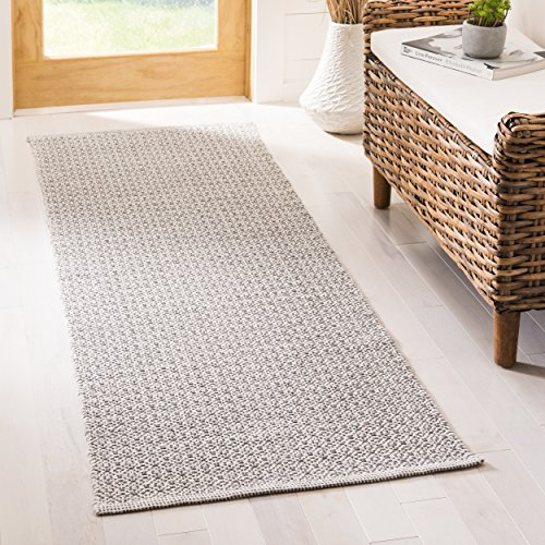 Safavieh Montauk Collection MTK717H Handmade Flatweave Ivory and Navy Cotton Area Rug 3 x 5