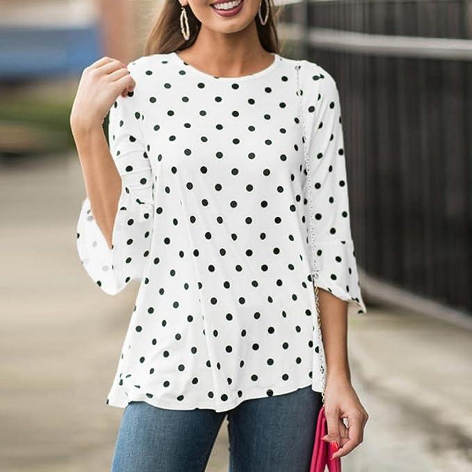 SunGren Blusa para Mujer de Moda, Dot Print O-Neck Camiseta Blusas de Manga Tres Cuartos: Amazon.es: Ropa y accesorios
