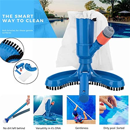Pool Vacuum Jet Cleaner,Pool Cleaning Kit Swimming Pool and Spa Jet Vacuum Brush Pool Cleaning Tool Underwater Cleaner with Brush and Bag
