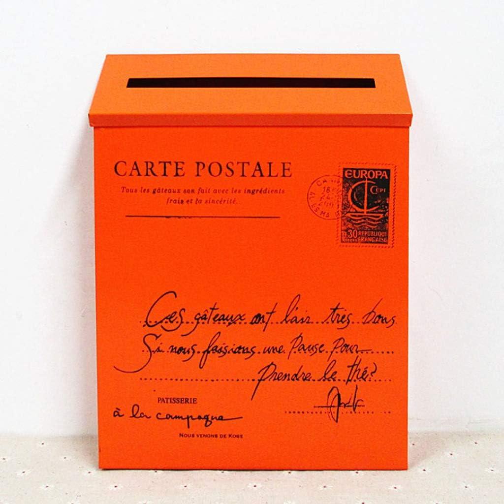 non-brand Buz/ón de Correos Exterior Grande para Cartas Pedri/ódicos de Hierro Amarillo Estilo Retro con Letras