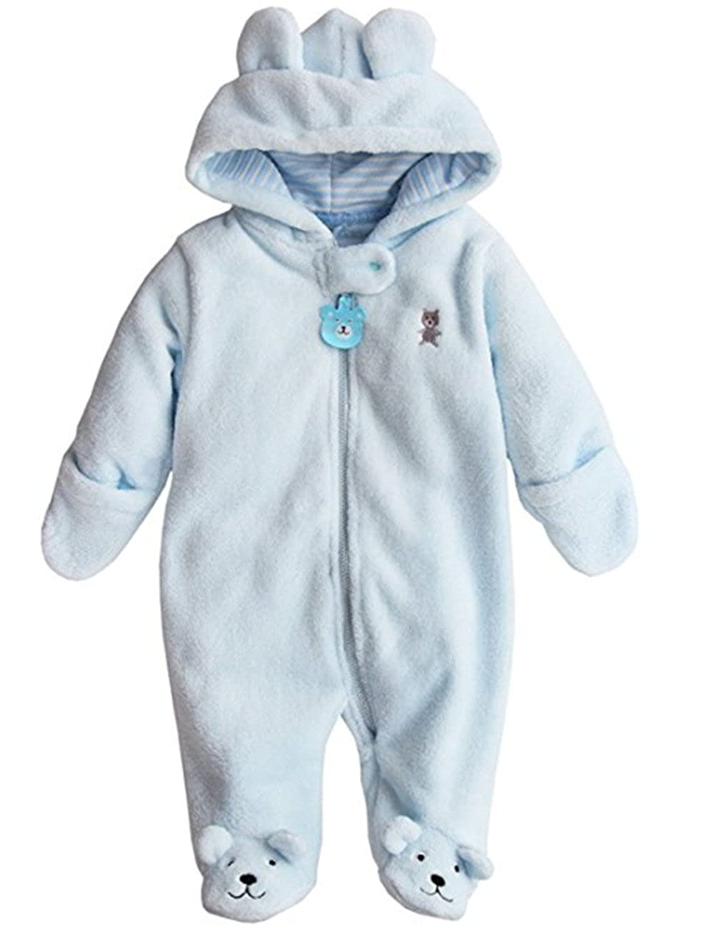 Buy Newborn Baby Boys Girls Cute Bear Winter Fleece Hoodie Romper