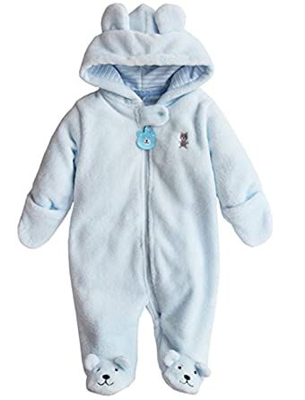 a47c6693e Amazon.com  Newborn Baby Boys Girls 3D Cartoon Bear Hooded Romper ...