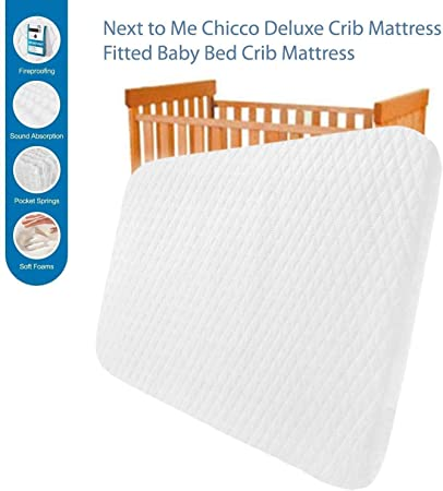 120x60x7.5 cm Breathable /& Washable Next to Me Baby Crib Cot Mattress 120 x 60cm Next2Me Chicco Compatible Bedside Me Toddler Deluxe Cribs Comfortable Fitted Infant Mattresses