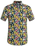 SSLR Men's Button Down Pineapple Casual Short Sleeve Tropical Hawaiian Shirt