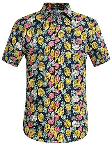(SSLR Men's Cotton Button Down Short Sleeve Hawaiian Shirt (Small, Navy (168-229)))