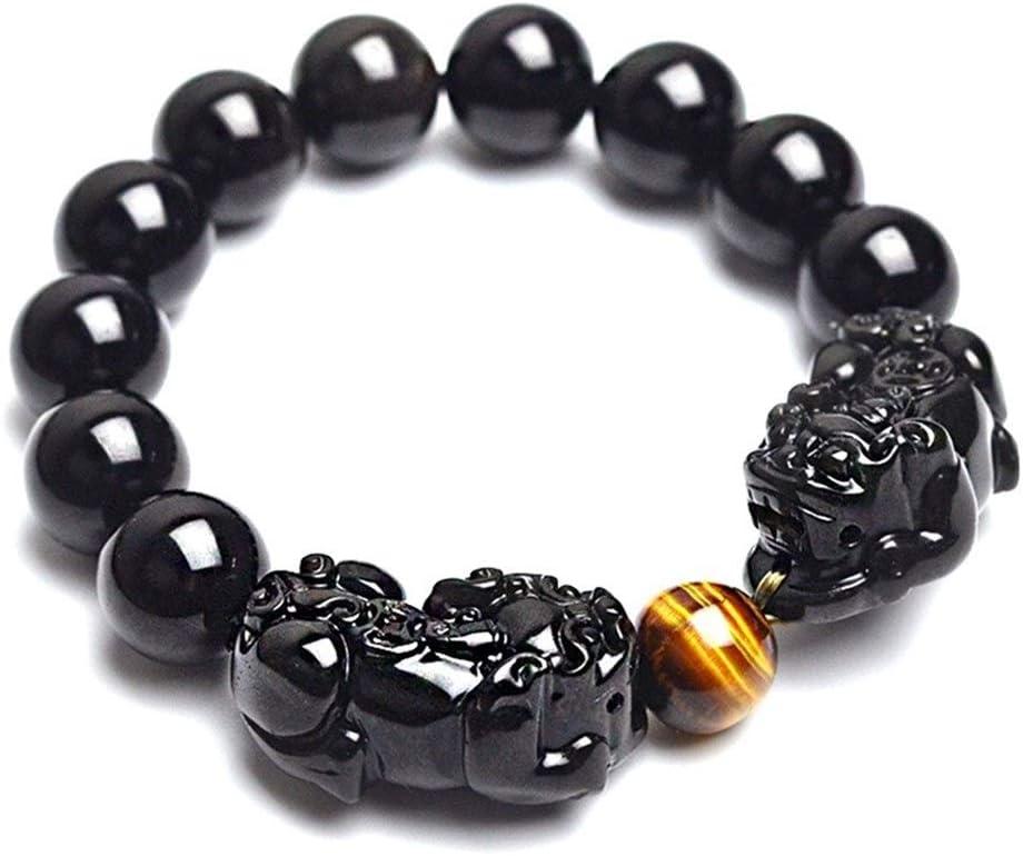 Pulsera Negro Pulsera de Piedra Natural de Obsidiana Ojo de Tigre con y Pulseras Doble Mujeres y Hombres (Length : Black Beads 10mm)