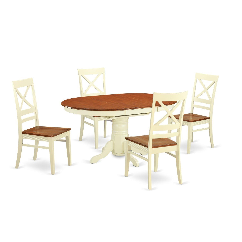 Amazon.com: East West Furniture avqu5-bch-w 5 pieza con 4 ...