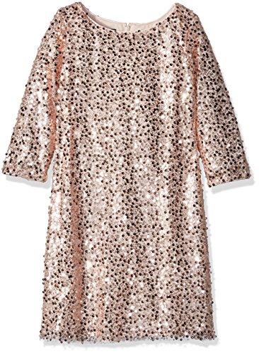 Biscotti Big Girls Filigree Splendor Long Sleeve Sequin Dress, Pink, 14