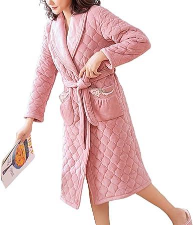 Bata De Mujer Camisón De Invierno Franela Algodón Ropa De Dormir Caliente Otoño Pijamas Albornoz: Amazon.es: Ropa y accesorios