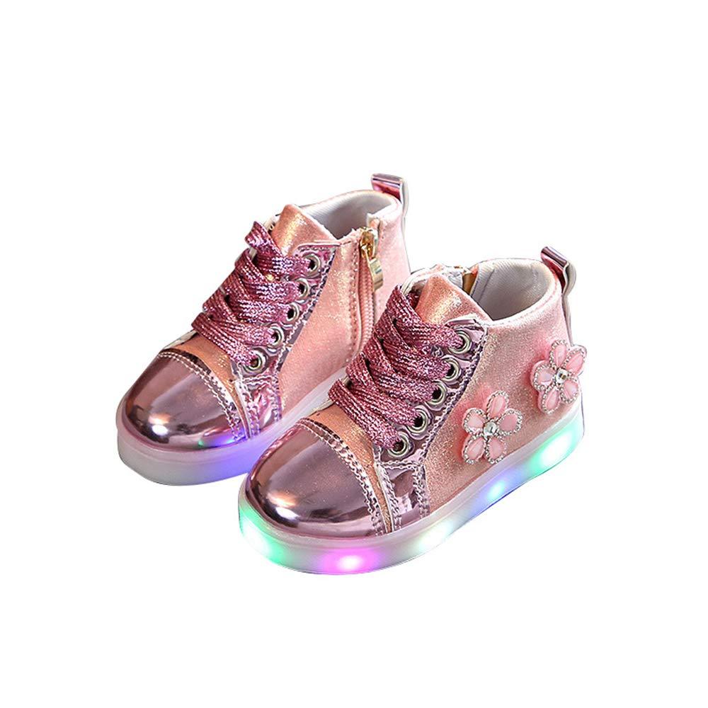 edv0d2v266 Children Kid Girls Boys Led Light Star Luminous Sport Mesh Student Casaul Shoes(Pink 22/5.5MUSToddler)