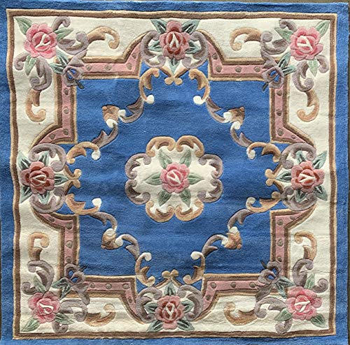 Carpet King Traditional Square Persian Handmade Chinese Floral Area Rug Light Blue Pink Green Beige Ivory Design (5 Feet 9 Inch X 5 Feet 9 Inch)