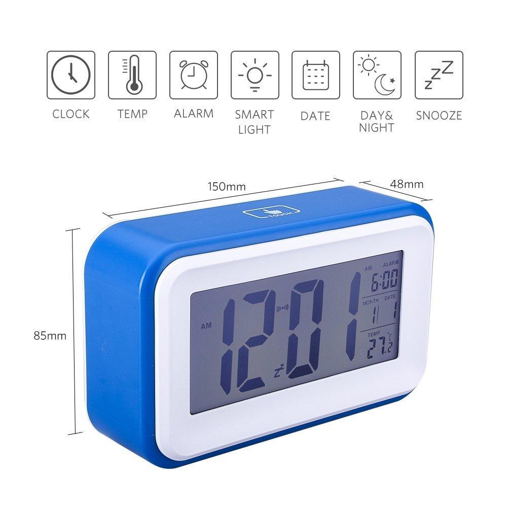 Reloj Despertador Digital VADIV CL01 Gran Pantalla Silencioso con Fecha Indicador de Temperatura Calendario y Luz de Noche Alarma con Sensor Táctil y de Luz Se Carga por USB o Batería AAA - Azul Oscuro