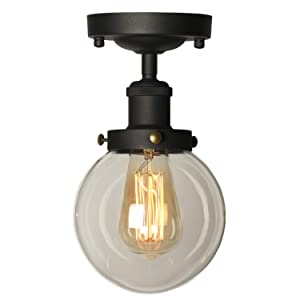 AILIN Industrial Vintage Classic Semi Flush Mount Ceiling Light Fixtures, Farmhouse Lighting Clear Glass Pendant Lighting Shade, Edison Style Metal & Glass Hanging Lights 1-Light …