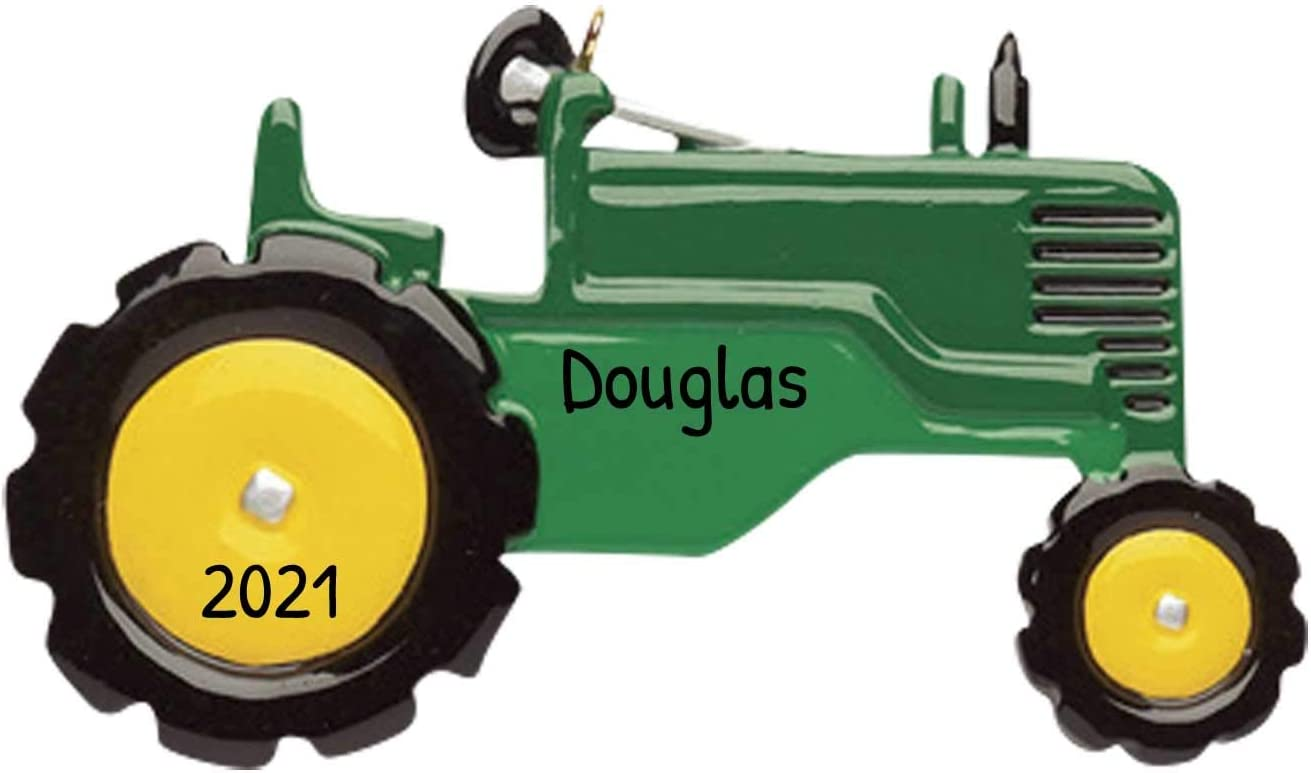 Personalized Tractor Christmas Tree Ornament 2020 - Green Grey Toy Twin Tires Farmer Boy John Machine Field Trailer Harvester Toddler Construction Deer-e Holiday Year - Free Customization
