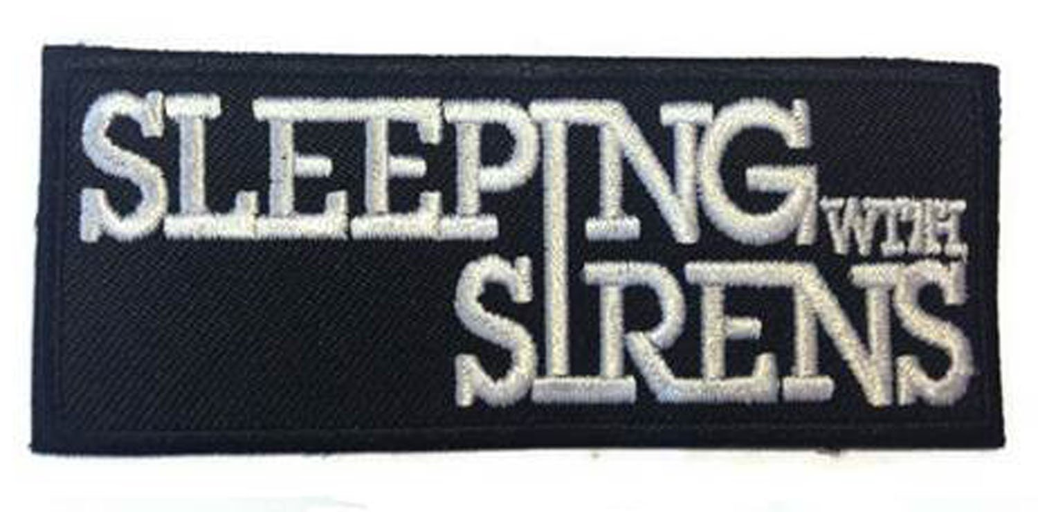 """SLEEPING WITH SIRENS :an American rock music band"" Applique embroidered iron on PATCHES (Wappen, ワッペン , 패치) with Yellow Tiny Smiley Patches by PATCH CUBE SM-1106"