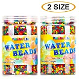 FansArriche 2 Size Water Beads for kids, 20 ounces Orbies Beads Jelly Water Gel Water Growing Balls for Orbeez Spa Refill,Kids Tactile Sensory Toys, Plants Vases, Party and Home Decor (2 SIZE)