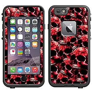 Skin Decal for LifeProof Apple iPhone 6 Case - Red Skulls on Black