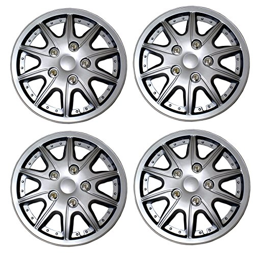 TuningPros WSC3-5004S16 4pcs Set Snap-On Type (Pop-On) 16-Inches Metallic Silver Hubcaps Wheel Cover -
