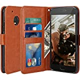 Moto G5 Plus Case, LK Luxury PU Leather Wallet Flip Protective Case Cover with Card Slots and Stand for Motorola Moto G Plus (5th Generation) - Brown